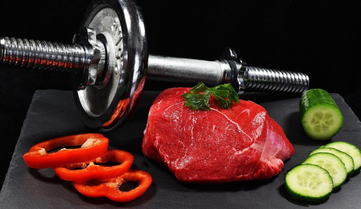 dumbells and food